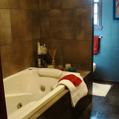 eclectic bathroom by RenovateKate