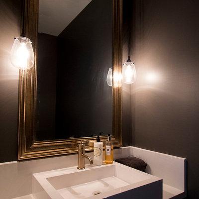 Bathroom - modern bathroom idea in Toronto with black walls and a vessel sink