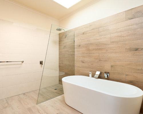 Salles de bains et wc beiges avec une douche l 39 italienne - Placard d angle salle de bain ...