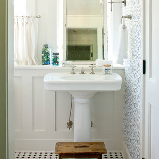 Example of a country multicolored floor bathroom design in Atlanta with a pedestal sink
