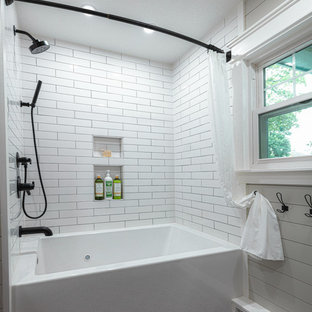 Inspiration for a mid-sized cottage white tile and ceramic tile porcelain floor, gray floor and shiplap wall bathroom remodel in Other with furniture-like cabinets, medium tone wood cabinets, a two-piece toilet, gray walls, wood countertops, a vessel sink and a floating vanity