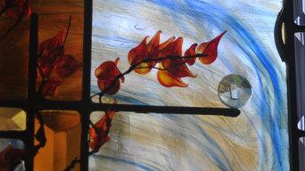Residence - Contemporary Art Glass Bathroom Window