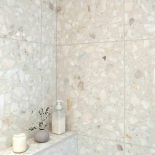 Design Ideas For A Small Contemporary Bathroom In Montreal With Beige Tile Terrazzo Floors And