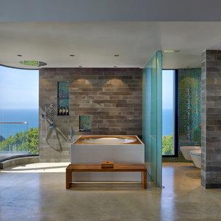 Foto di una stanza da bagno padronale tropicale con vasca idromassaggio, zona vasca/doccia separata, piastrelle multicolore, lavabo integrato, pavimento grigio e toilette