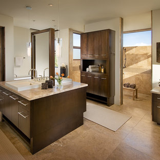 Bathroom - contemporary travertine tile bathroom idea in Phoenix with flat-panel cabinets and dark wood cabinets