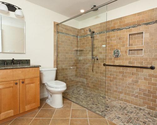 Neutral Tile Shower | Houzz