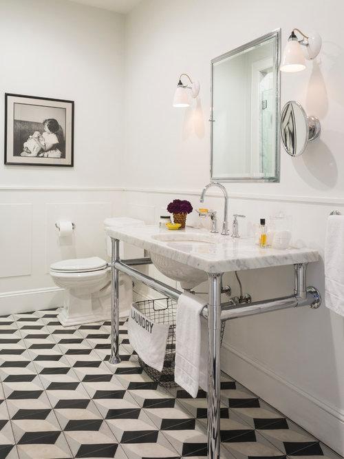 klassische badezimmer mit zementfliesen ideen design. Black Bedroom Furniture Sets. Home Design Ideas