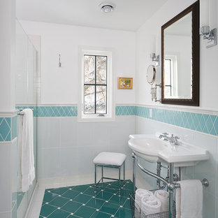Example of a small classic master blue tile and porcelain tile ceramic floor and turquoise floor bathroom design in Minneapolis with a console sink and white walls