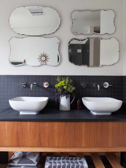Bathroom   1950s Black Tile Bathroom Idea In Adelaide With A Vessel Sink,  Open Cabinets