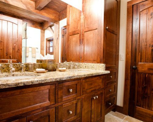 inspiration for a mid sized rustic 34 beige tile travertine floor corner shower - Bathroom Ideas Log Homes