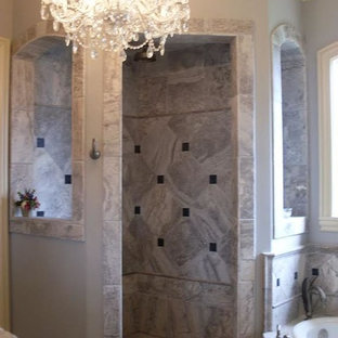 Bathroom - mid-sized traditional master multicolored tile and marble tile marble floor and multicolored floor bathroom idea in Birmingham with purple walls