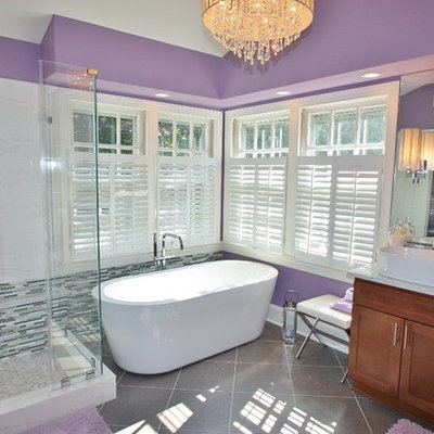 Inspiration for a contemporary freestanding bathtub remodel in DC Metro with a vessel sink and purple walls