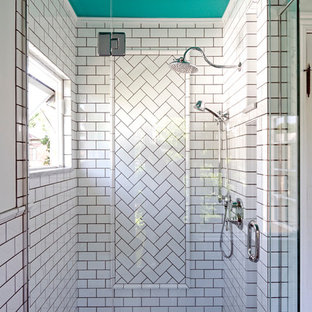 Bathroom - small transitional master white tile and subway tile marble floor bathroom idea in Columbus