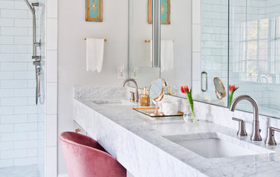 Master Bath Loses Dark Finishes and Gains Airy Glamour