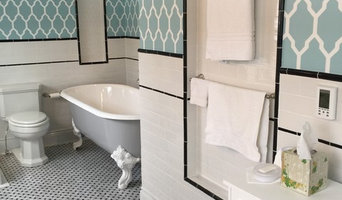Retro-Modern Black, White & Teal Bath Remodel