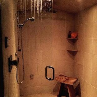 Corner shower - master beige tile corner shower idea in Other