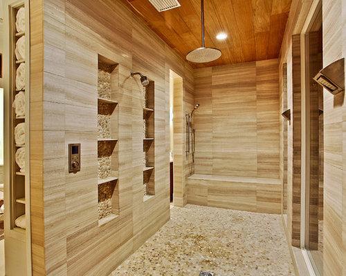 mediterrane badezimmer mit kiesel bodenfliesen ideen. Black Bedroom Furniture Sets. Home Design Ideas