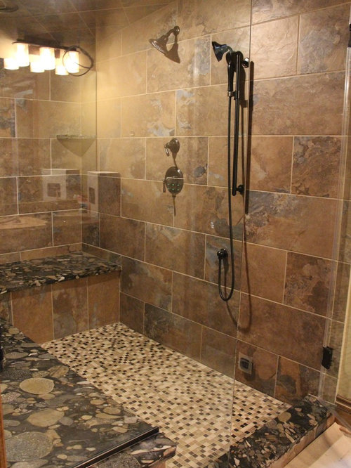 Rustic Walk In Shower With Seat Sauna Design Ideas