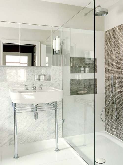 Beautiful Contemporary Bathroom Idea In London With A Console Sink