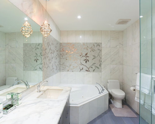 bathroom large transitional master white tile and stone tile porcelain floor and gray floor bathroom