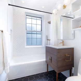 Inspiration For A Contemporary White Tile Black Floor Bathroom Remodel In New York With Flat