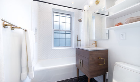 Before and After: Stylish and Streamlined Small Bathroom