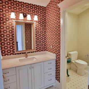 ソルトレイクシティの広いトランジショナルスタイルのおしゃれな子供用バスルーム (アンダーカウンター洗面器、落し込みパネル扉のキャビネット、白いキャビネット、白いタイル、ピンクの壁、珪岩の洗面台、モザイクタイル、モザイクタイル) の写真