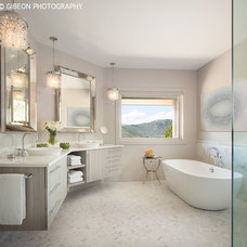 Transitional Bathroom by Kaegebein Fine Homebuilding