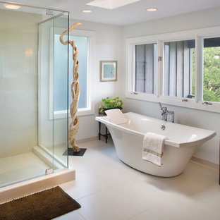 Example of a trendy freestanding bathtub design in Boise