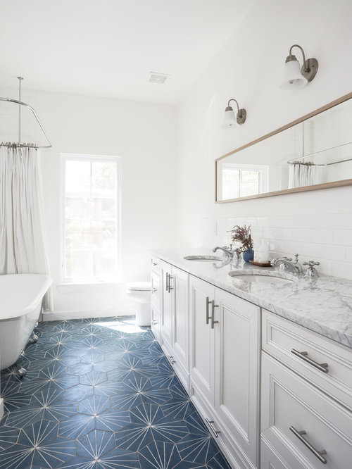 Example Of A Mid Sized Country Kidsu0027 White Tile And Subway Tile Blue Floor