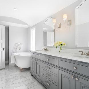 Mid Sized Elegant Master White Tile And Marble Tile Marble Floor Bathroom  Photo In Cincinnati