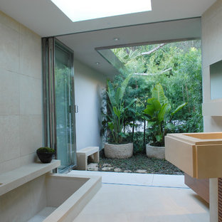 Bathroom - modern bathroom idea in Los Angeles with an integrated sink