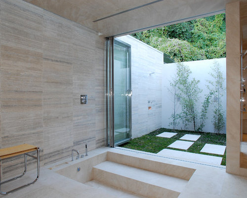 Step down shower houzz - How to put down tile in bathroom ...
