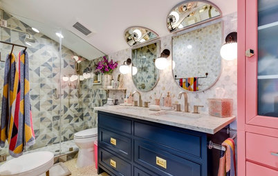 Beige Windowless Bathroom Gets a Fun, Colorful Makeover