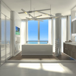 Inspiration For A Huge Modern Master Marble Floor And White Bathroom Remodel In Miami With