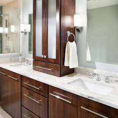 modern bathroom River White Granite Vanity