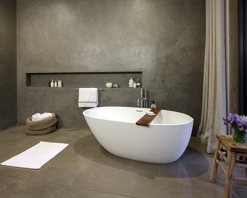 Polished concrete bathroom design ideas renovations for Polished concrete floor bathroom