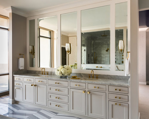 Transitional Cabinet Finish Gray Bathroom Design Ideas, Remodels & Photos with Gray Cabinets and ...