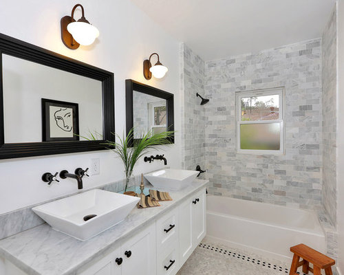 Top Gray Tile Bathroom Photo In Los Angeles With A Vessel Sink Shaker  Cabinets And With White Cabinets With Black Hardware.