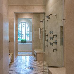 Huge eclectic master mosaic tile floor bathroom photo in Other