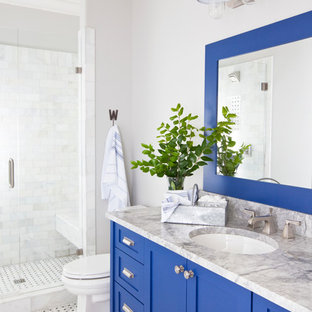 Design ideas for a country family bathroom in Atlanta with a submerged sink, shaker cabinets, blue cabinets, marble worktops, white tiles, stone tiles, white walls and mosaic tile flooring.