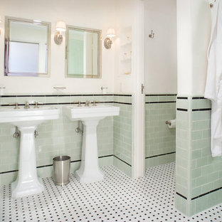 Example of a classic green tile and subway tile mosaic tile floor and multicolored floor bathroom design in Santa Barbara with a pedestal sink and green walls