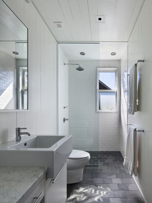 Superior Inspiration For A Beach Style Subway Tile Bathroom Remodel In New York