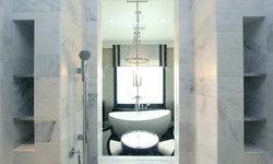 Robeson Design Luxury Master Bathroom Shower Storage Ideas