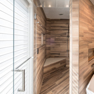 Inspiration for a large modern master brown tile and porcelain tile slate floor and gray floor bathroom remodel in Detroit with flat-panel cabinets, white cabinets, gray walls, an undermount sink, quartzite countertops and a hinged shower door