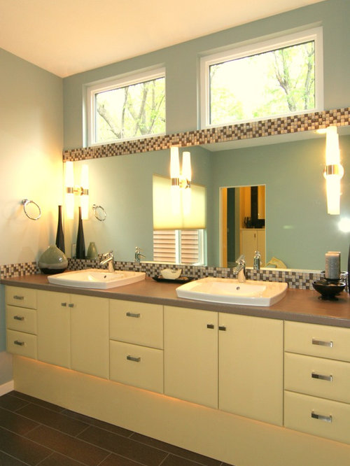 Bathroom Design Ideas Renovations Photos With Laminate Worktops And Yellow Cabinets