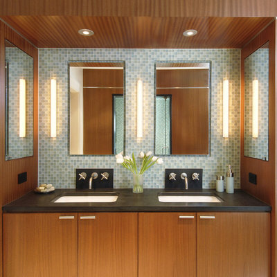 Large trendy master blue tile and glass tile bathroom photo in Boston with an undermount sink, flat-panel cabinets, medium tone wood cabinets, blue walls and a hinged shower door