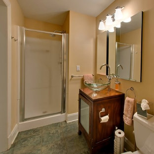 Bathroom - large traditional medium tone wood floor bathroom idea in Baltimore with light wood cabinets