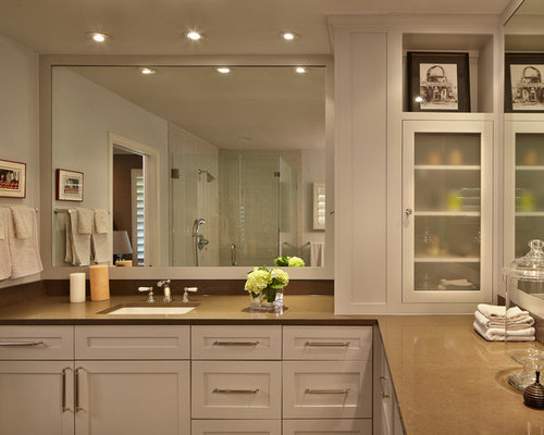 Example Of A Trendy Corner Shower Design In Austin With An Undermount Sink,  Shaker Cabinets