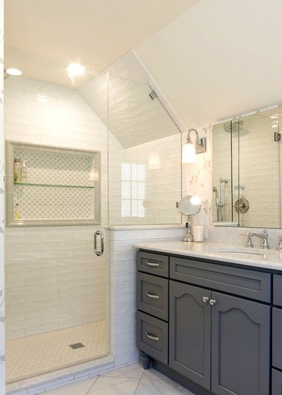 Transitional Bathroom by Potter Construction Inc